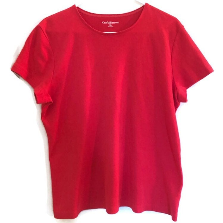 Croft & Barrow Womens Short Sleeve Red Soft Tshirt