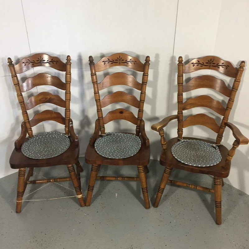 8 Brown Wooden Framed Chairs w/ Seat Pads