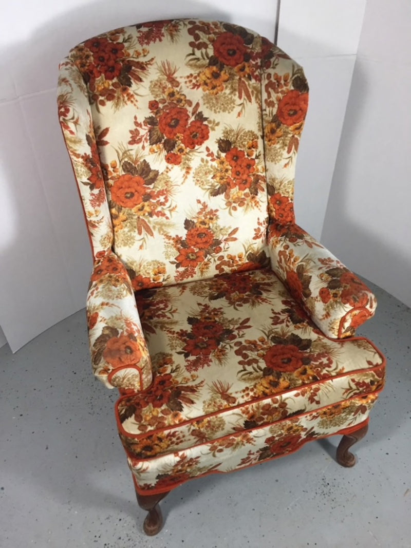 Best Chairs Floral Orange Wingback Stationary Chair