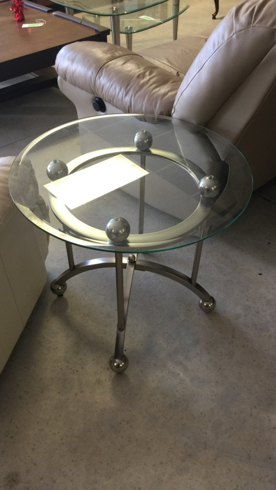 Round Glass Top Coffee End Table W Gray Metal Base M15sales Com