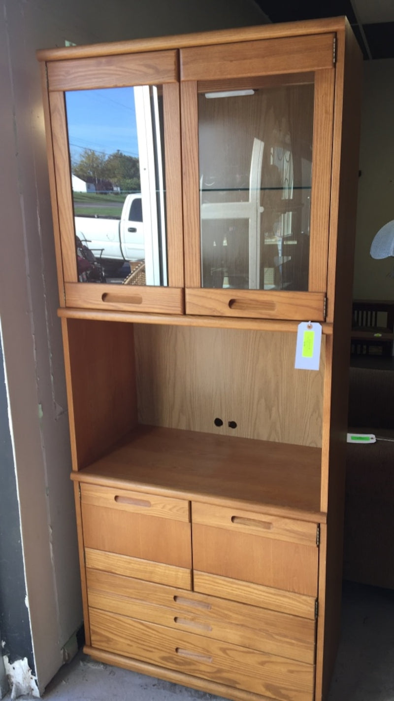 Oak Kitchen Hutch w/ Light