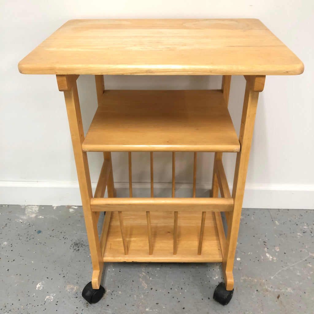 "36"" Light Oak Solid Wood Kitchen Storage Dining Rolling Cart"