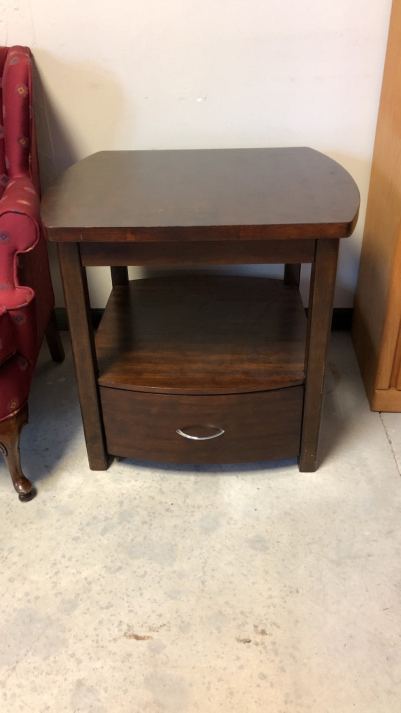 Dark Brown Wooden End Table w/ Drawer