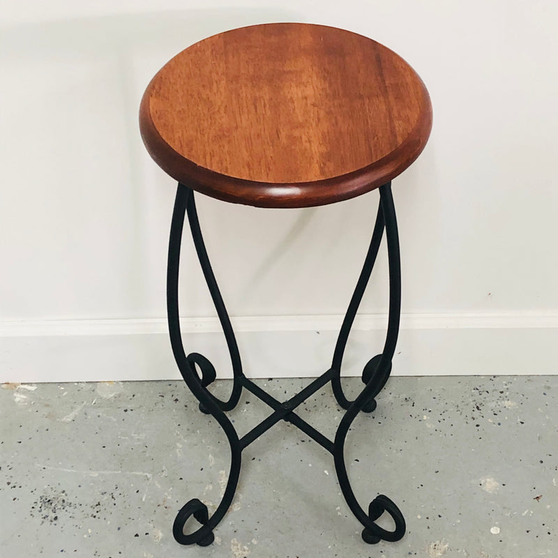 "SGV 18"" Wrought Iron Wood Seat Stool"
