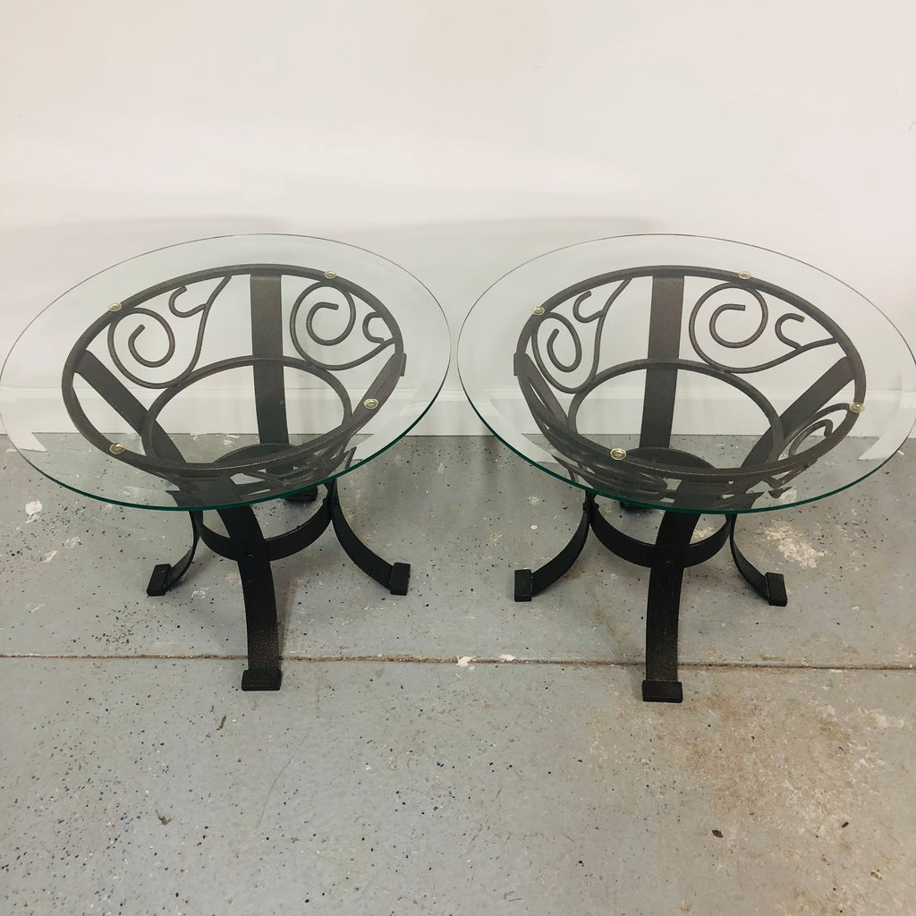 "(2) Heavy Metal Base Ornate 25"" Glass Top End Tables"