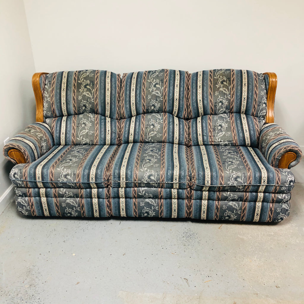 Berkline Wood Frame Blue Floral Double Reclining Sofa Couch