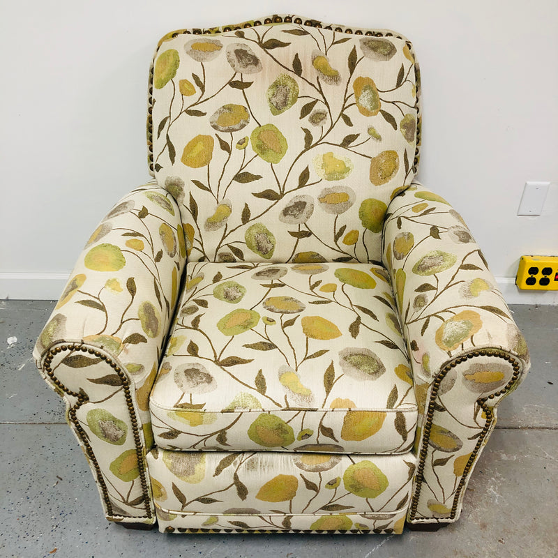 La-Z-Boy Off White Green Floral Reclining Chair Recliner