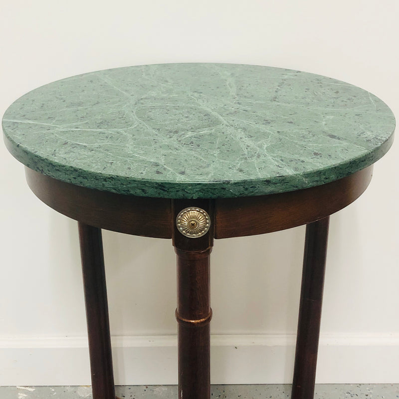 "Marble Blue Green Top Wood Frame 3 Legged 18"" Round Side End Table"