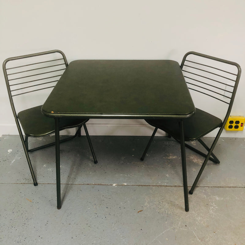 "31"" Green Foldable Card Table + 2 Matching Chairs"