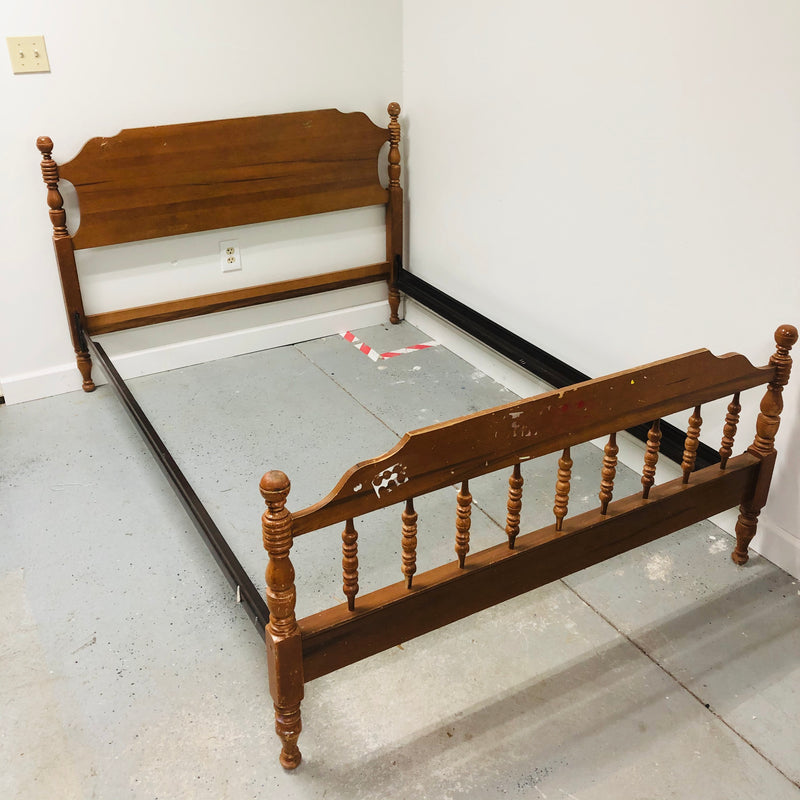 Double Full Maple Wood Headboard Spindal Footboard Bed Frame