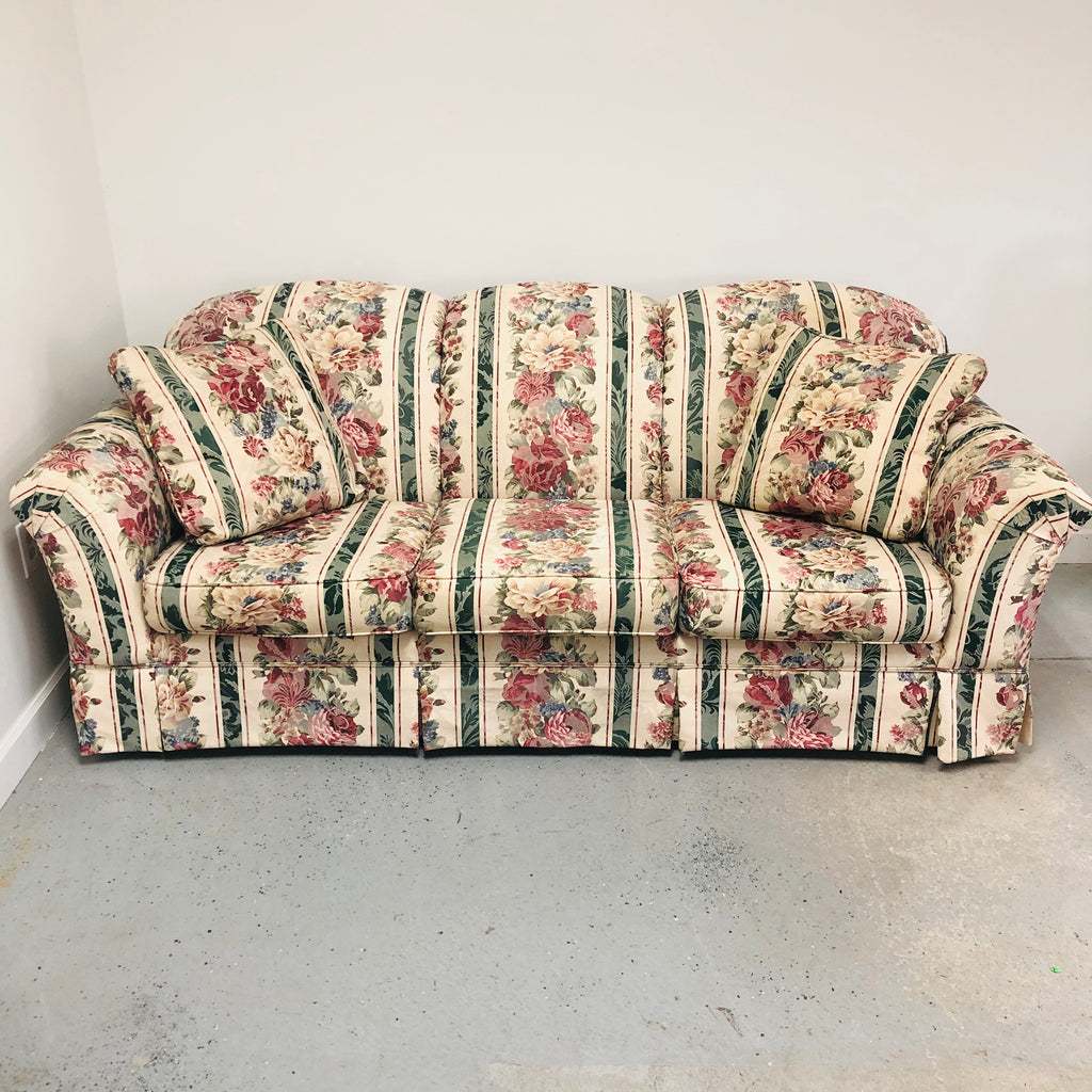 Broyhill 3 Seat Floral Flower Sofa Couch