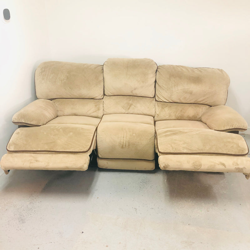 Haining Happy Double Recliner Beige & Brown Microfiber Reclining 3 Seat Sofa Couch