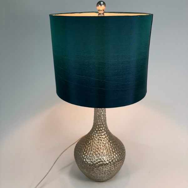 "24"" Table Lamp Silver Base Green Shade"