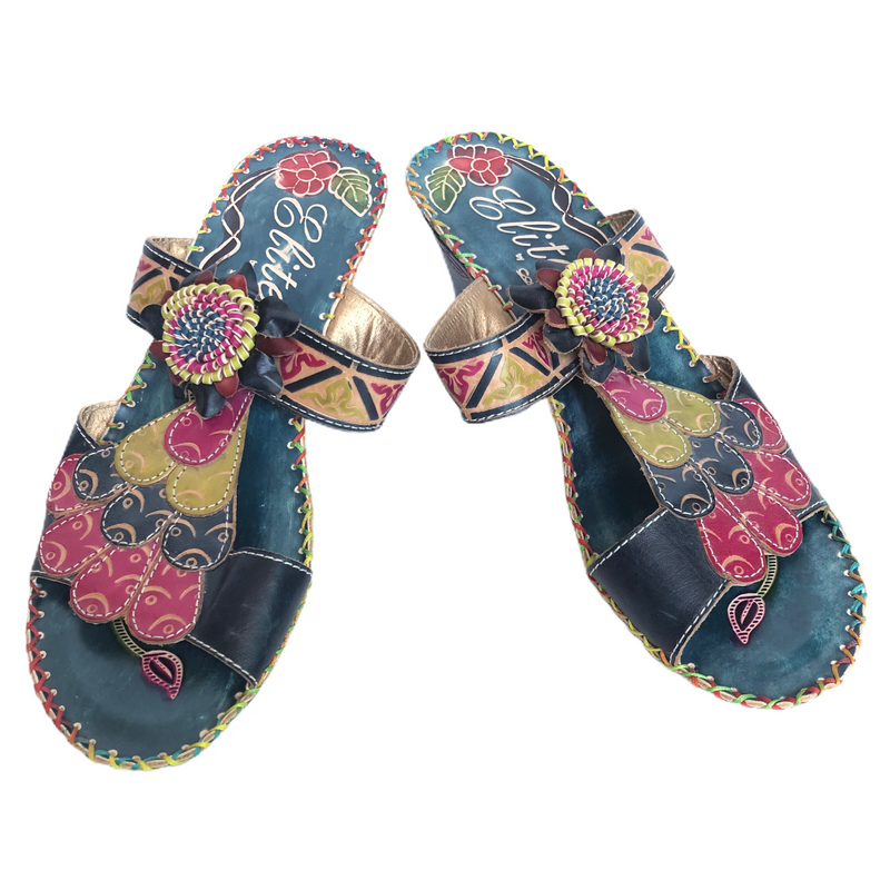 Elite By Corkys Womens Leather Turquoise Multi Color Flower Wedge Sandals