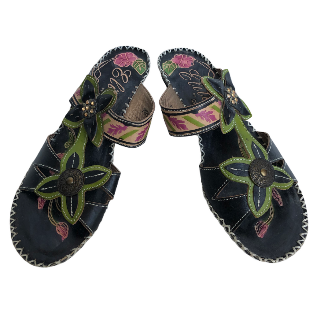 Elite By Corkys Womens Leather Black Green Flower Wedge Sandals
