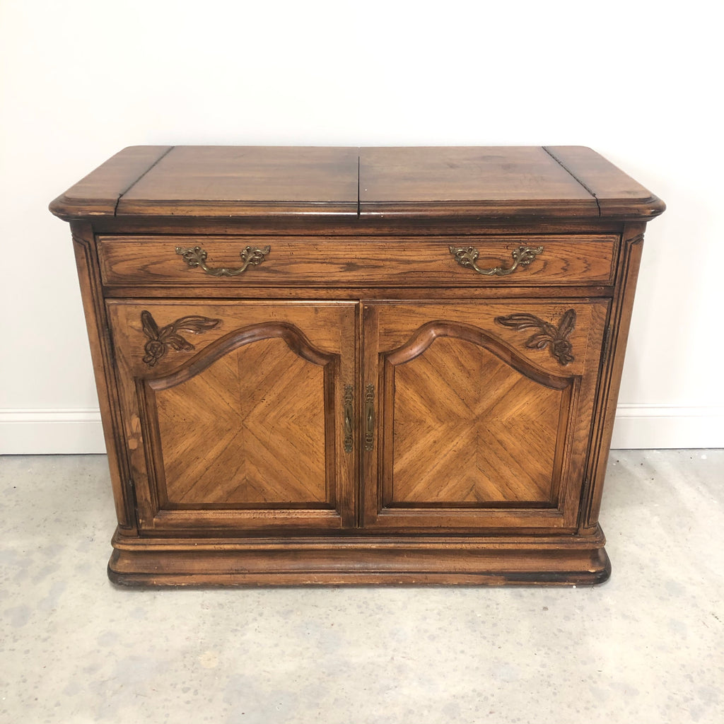 Walnut Under Door Storage Silverware Drawer Buffet
