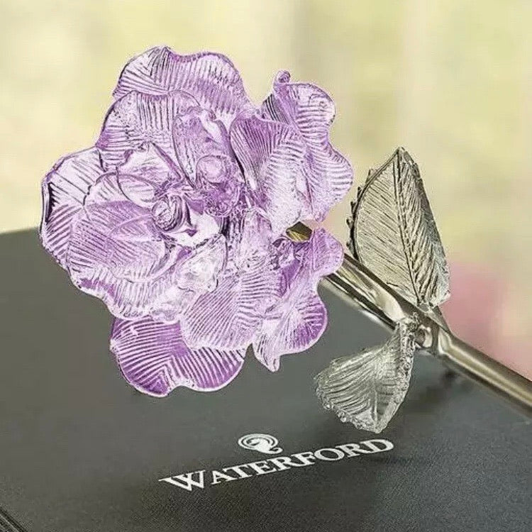 "Waterford Fleurology Crystal Lavender Rose Flower 14.5"" Sculpture"