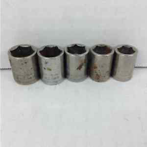 "(5) Craftsman 6 Point 3/8"" Drive Sockets 11-15mm Lot"