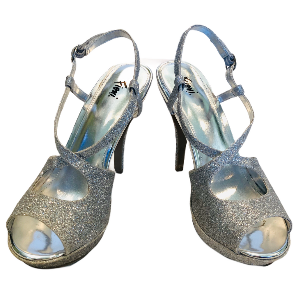 Fioni Night Womens Silver Glittery High Heel Shoes
