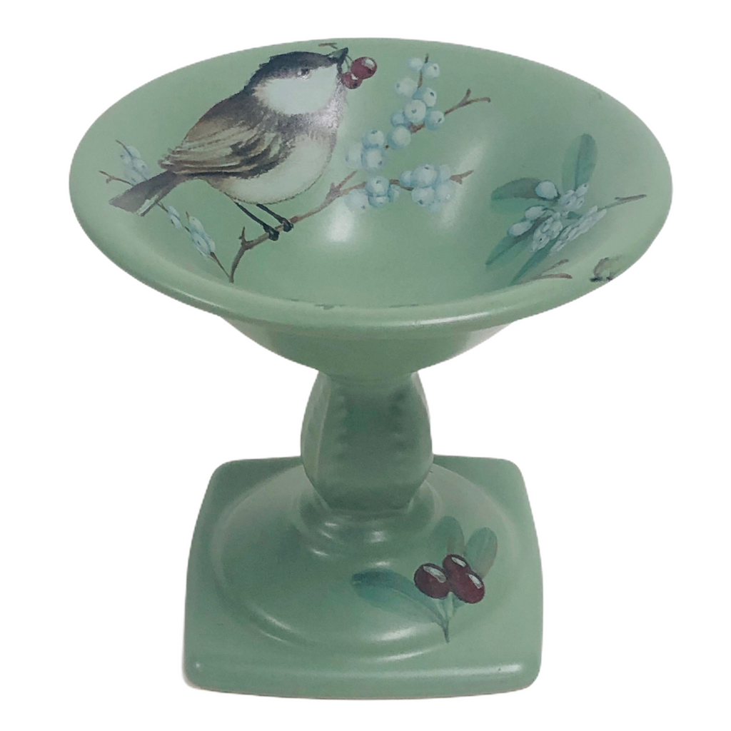 "Pfaltzgraff Winterwood Green 5"" Pedestal Candy Nut Dish Bowl"