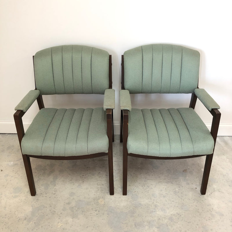 (2) Mint Green Fabric Wood Trim Cushion Arm Chairs