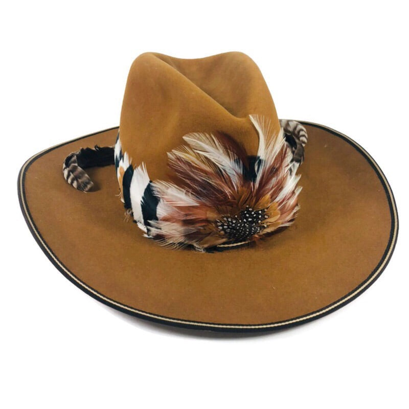 Resistol Beaver XXX Self Comforting Feather Band Brown Western 7 1/4 Cowboy Hat