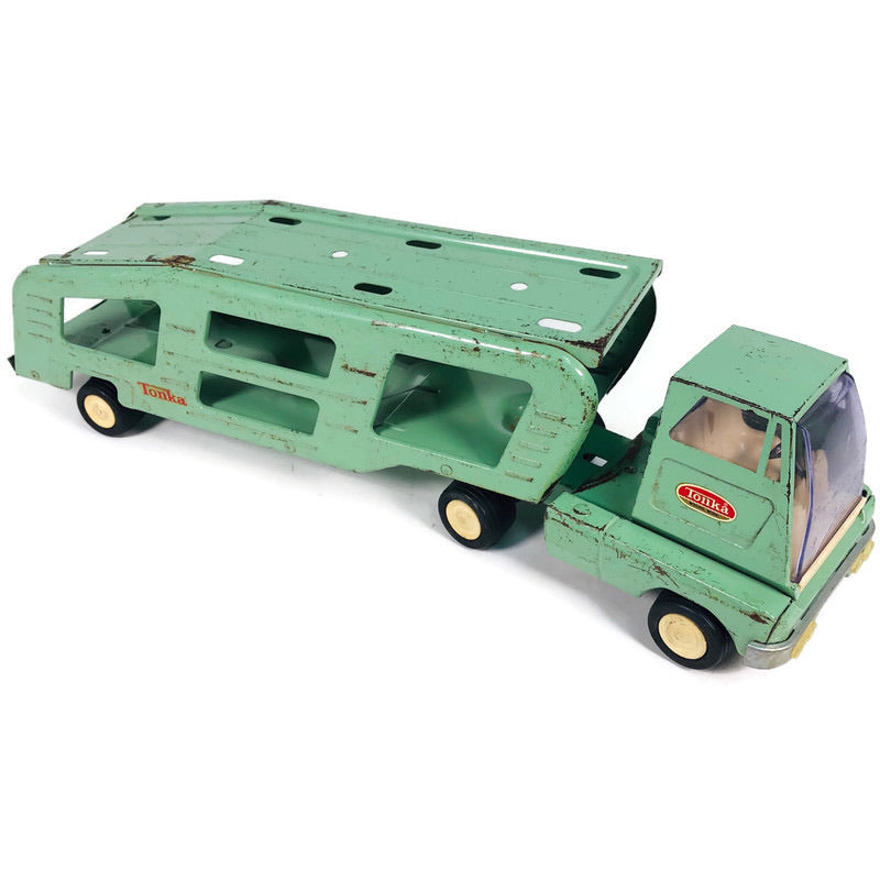 "Tonka Steel Mint Green 18.5"" Semi Truck Car Hauler Transporter"