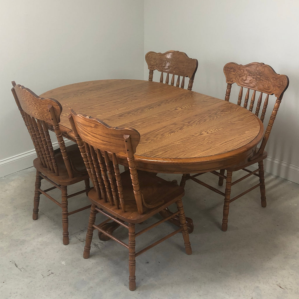 "Oak Wood 4 Chair 2 Leaf 42"" Round Dining Dinette Table Set"