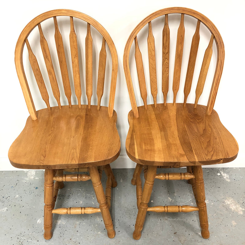 (2) Swivel Top Windsor Back Light Oak Solid Wood Bar Stools
