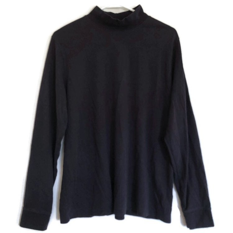 Lands End Womens Navy Blue Mock Turtleneck