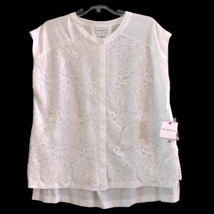 Liz Claiborne Womens Polyester Lace Front Sleeveless Hidden Button Down White Shirt