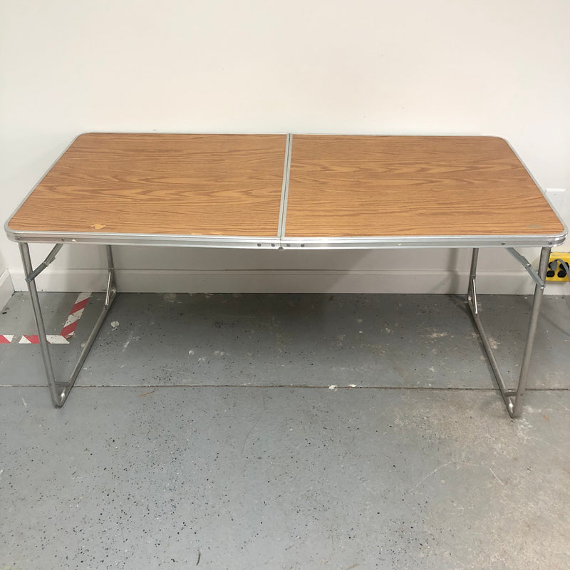 "60"" Metal Frame Replicated Wood Top Fold Up Portable Table"