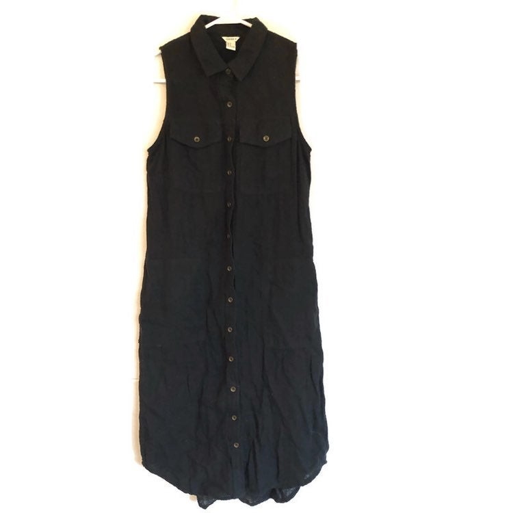 Forever 21 Long Maxi Sleeveless Button Up Pockets Dress
