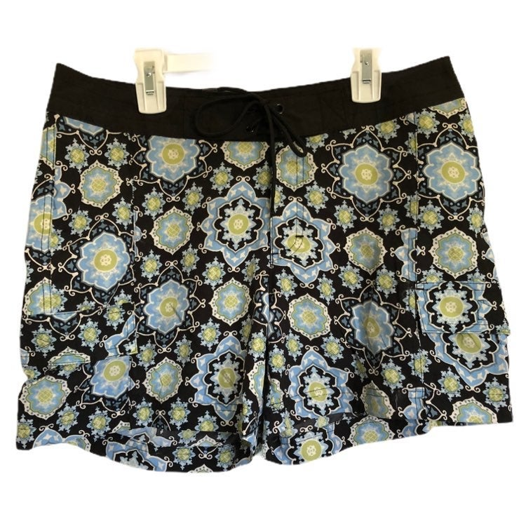 Natural Reflections Womens Blue Green Floral Swim Shorts