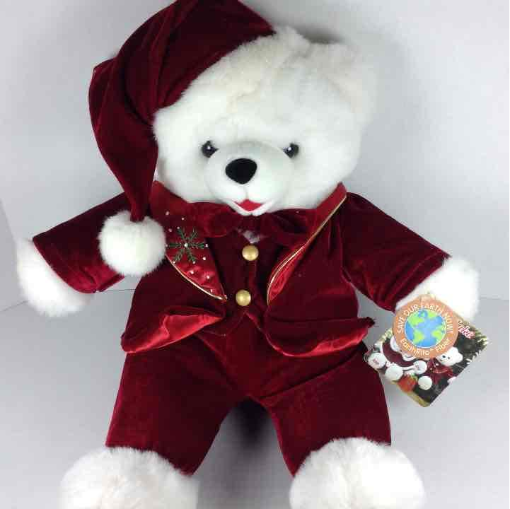 "Walmart Christmas 2010 Snowflake 20"" Red Stuffed Animal Bear"