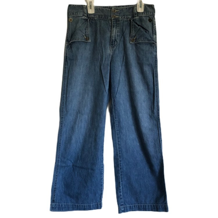 Lauren Jeans CO. Womens 2 Button Zip Front Wide Leg Jeans