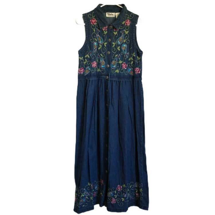 Main Street Womens Button Front Sleeveless Button Front Decorative Denim Dress