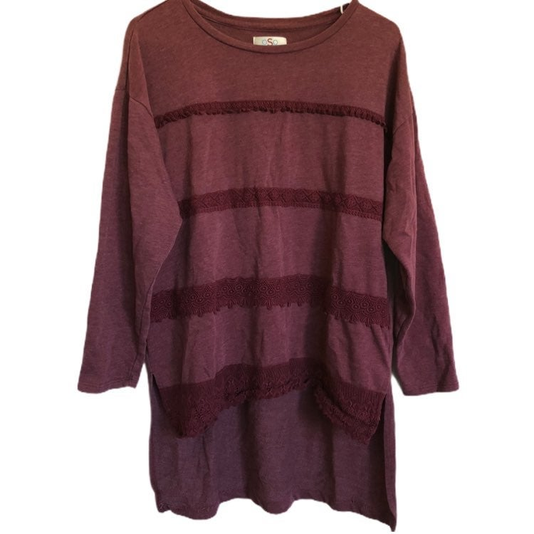 OSO Casuals Womens Maroon Fringe Front High Low Long Sleeve Shirt
