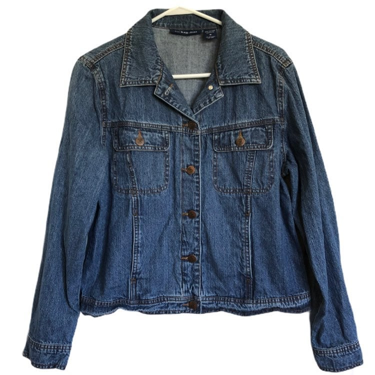 Bill Blass Womens Button Front Jean Jacket