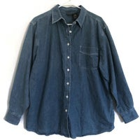 Route 66 Womens Denim Button Down Long Sleeve Shirt