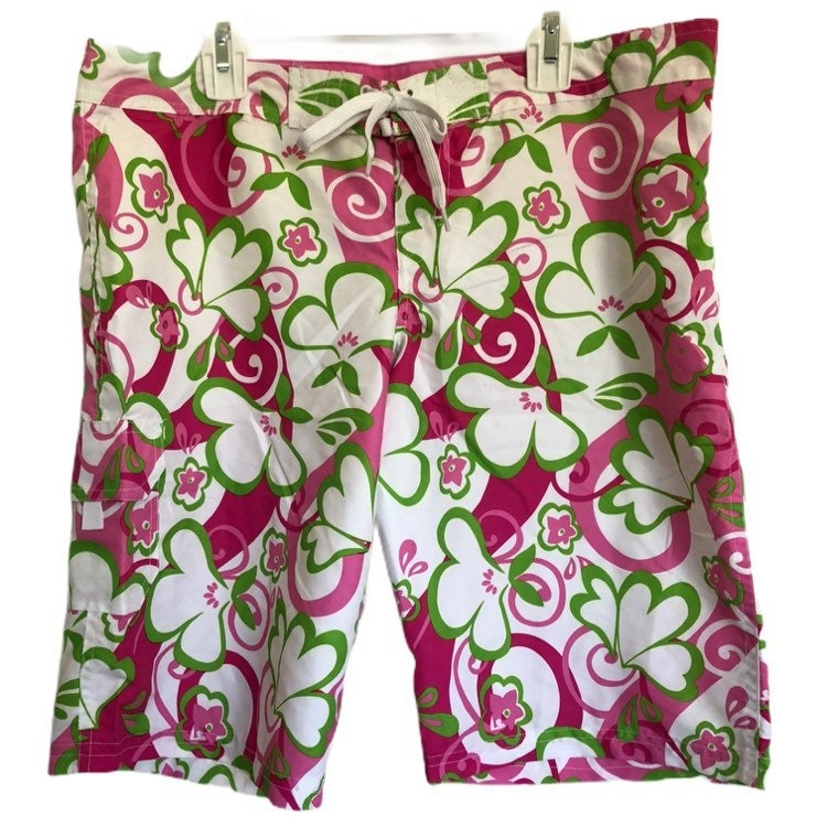 Kanu Surf Womens UPF 50 Quick Dry Pink Green Hawaiin Oceanside Swim Shorts