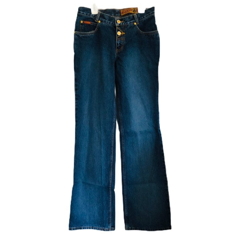 Lawman Womens 2 Button Zip Fly Wide Leg Blue Jeans