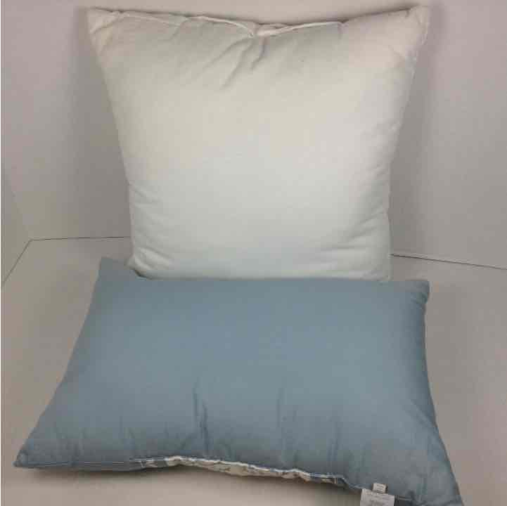 (2) Cindy Crawford Style White and Blue Pillows