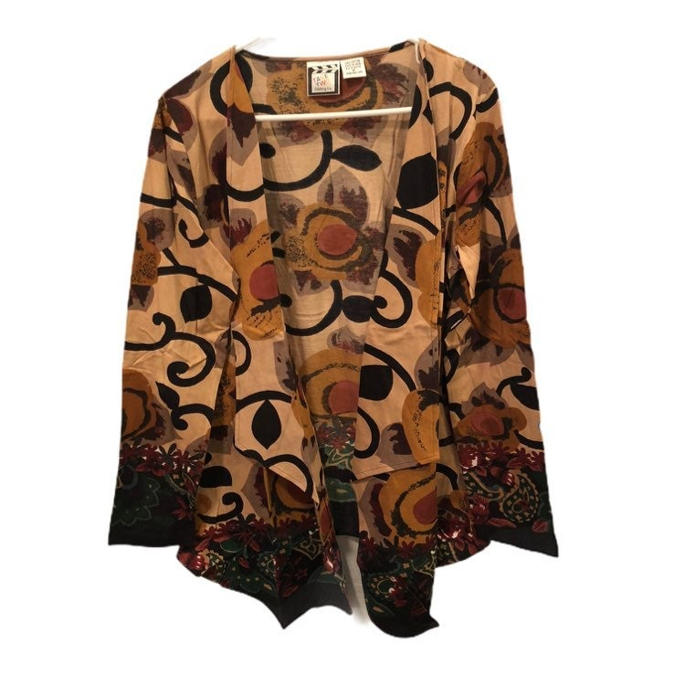Take Two Clothing Co. Long Sleeve Open Front Geometric Art Cardigan