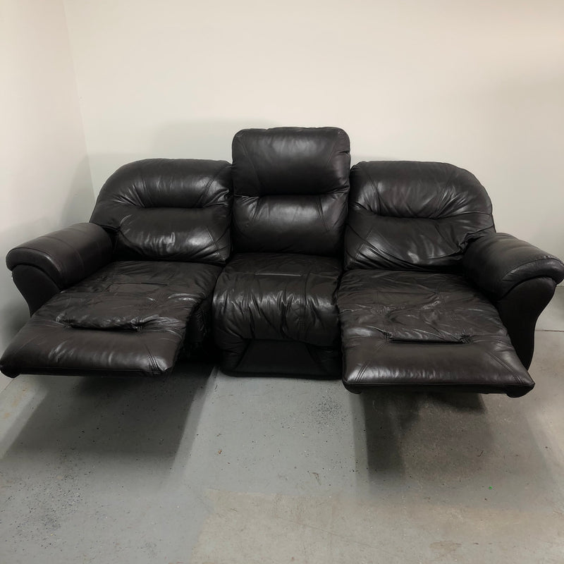 Best Chairs Double Recliner Dark Brown Leather Electric Reclining 3 Seat Sofa Couch