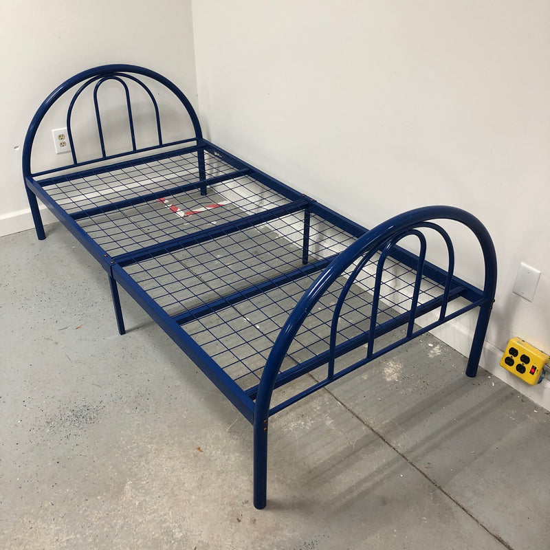 Twin Single Blue Metal Bed Frame