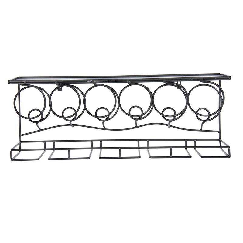 Oenophilia 6 Bottle 8 Stem Glass Wine Bar Black Metal Wall Rack 010001