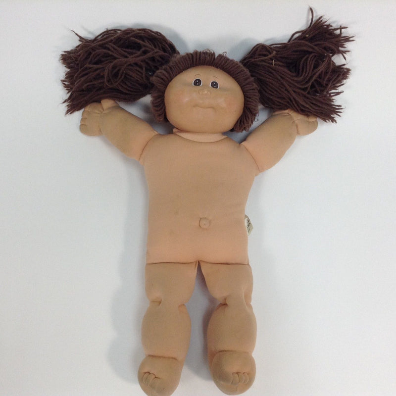 Cabbage Patch Kids CPK Doll Brown Eyes Long Brown Hair W/ Pigtails