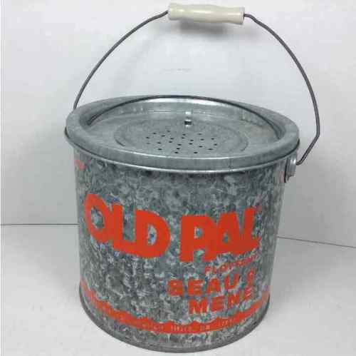 Old Pal Woodstream Floating Metal Minnow Bucket 24G10