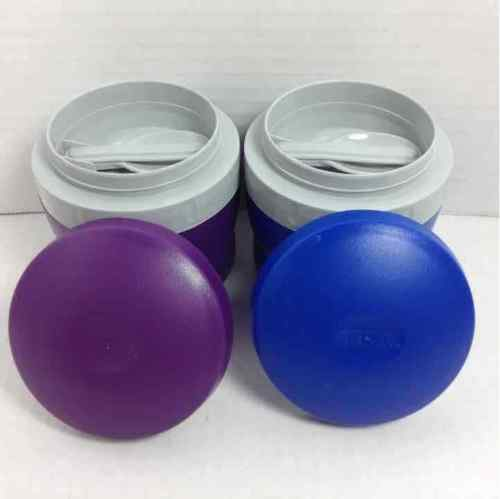 (2) Thermos 8 oz. Mini Portable Insulated Blue & Purple Lunch Snack Jars